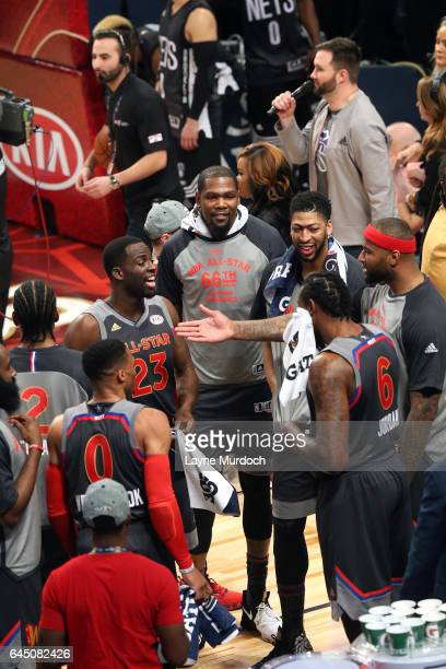 Russell Westbrook of the Oklahoma City Thunder Draymond Green of the Golden State Warriors Kevin Durant of the Golden State Warriors Anthony Davis of...