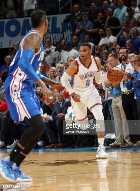 Russell Westbrook of the Oklahoma City Thunder dribbles the ball up court en route to the first ever perfect triple double in NBA history against the...