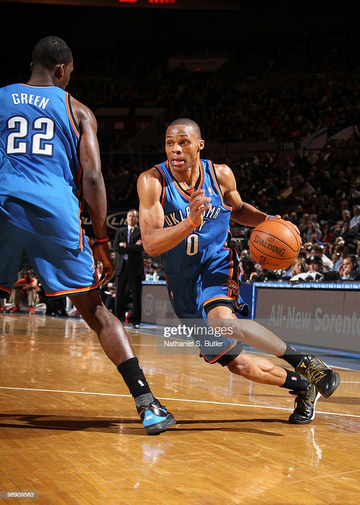 Russell Westbrook #0 of the Oklahoma City Thunder drives against the New York Knicks on February 20, 2010 at Madison Square Garden in New York City.