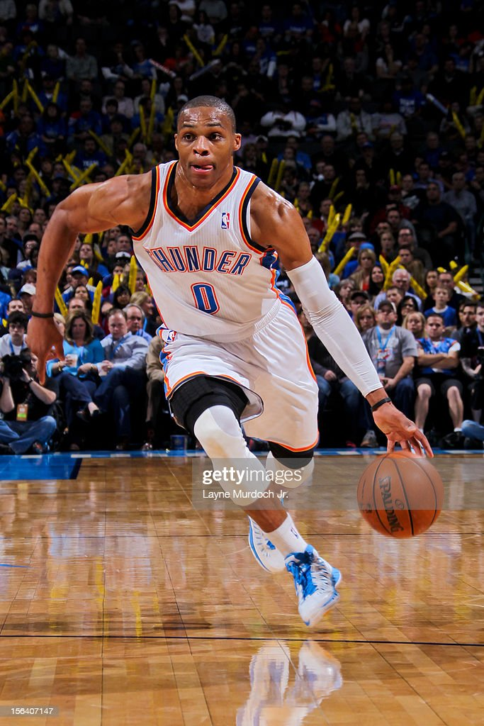 Russell Westbrook #0 of the Oklahoma City Thunder drives against the Memphis Grizzlies on November 14, 2012 at the Chesapeake Energy Arena in Oklahoma City, Oklahoma.