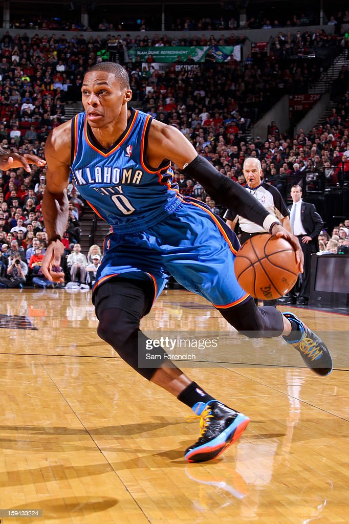 Russell Westbrook #0 of the Oklahoma City Thunder drives against the Portland Trail Blazers on January 13, 2013 at the Rose Garden Arena in Portland, Oregon.