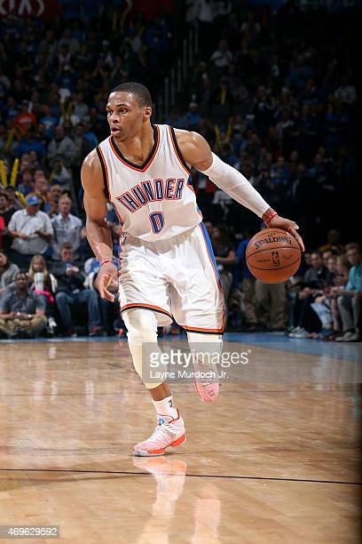 Russell Westbrook of the Oklahoma City Thunder drives against the Portland Trail Blazers on April 13 2015 at Chesapeake Energy Arena in Oklahoma City...