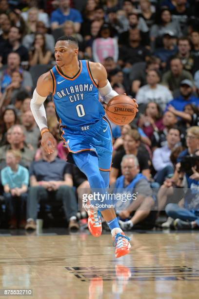 Russell Westbrook of the Oklahoma City Thunder drives the ball down court against the San Antonio Spurs on November 17 2017 at the ATT Center in San...