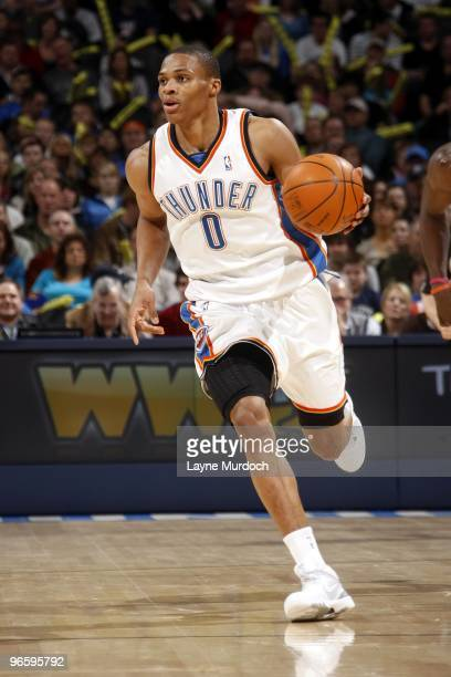 Russell Westbrook of the Oklahoma City Thunder drives the ball up court during the game against the Chicago Bulls at Ford Center on January 27 2010...