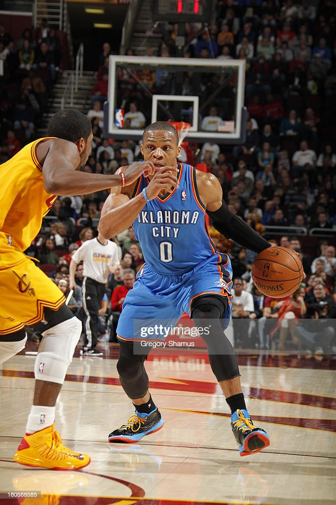 Russell Westbrook #0 of the Oklahoma City Thunder drives to the basket against the Cleveland Cavaliers at The Quicken Loans Arena on February 2, 2013 in Cleveland, Ohio.