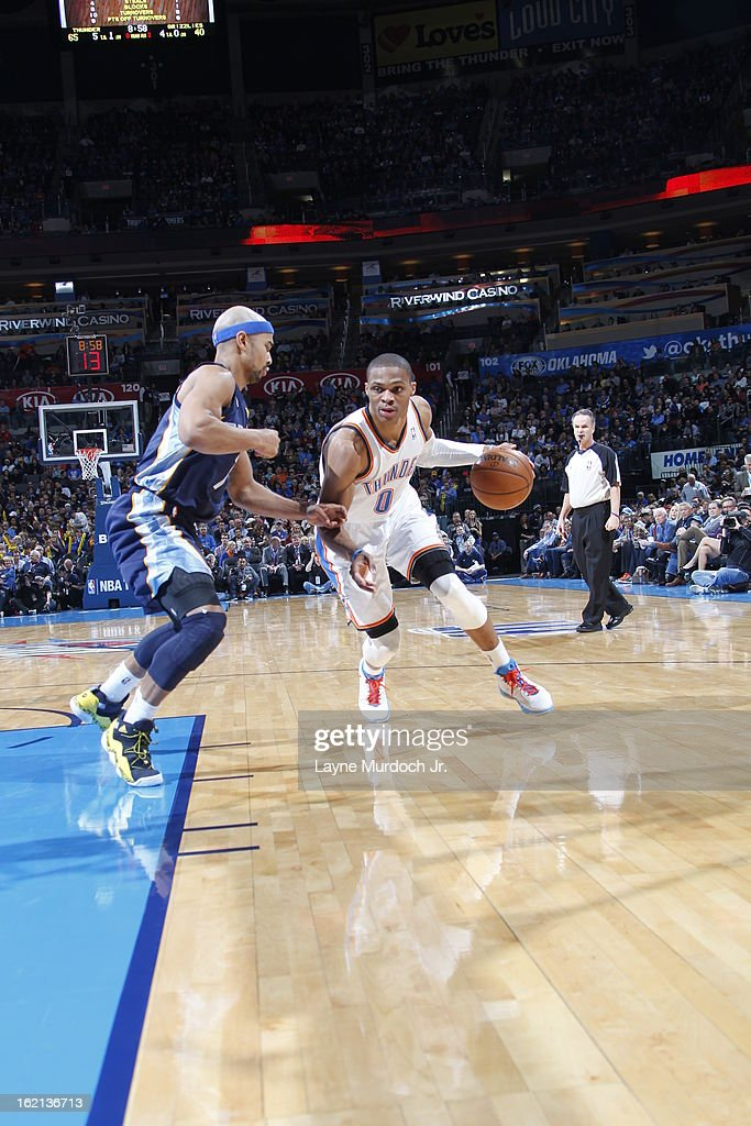 <a gi-track='captionPersonalityLinkClicked' href=/galleries/search?phrase=Russell+Westbrook&family=editorial&specificpeople=4044231 ng-click='$event.stopPropagation()'>Russell Westbrook</a> #0 of the Oklahoma City Thunder drives to the basket against the Memphis Grizzlies on January 31, 2013 at the Chesapeake Energy Arena in Oklahoma City, Oklahoma.