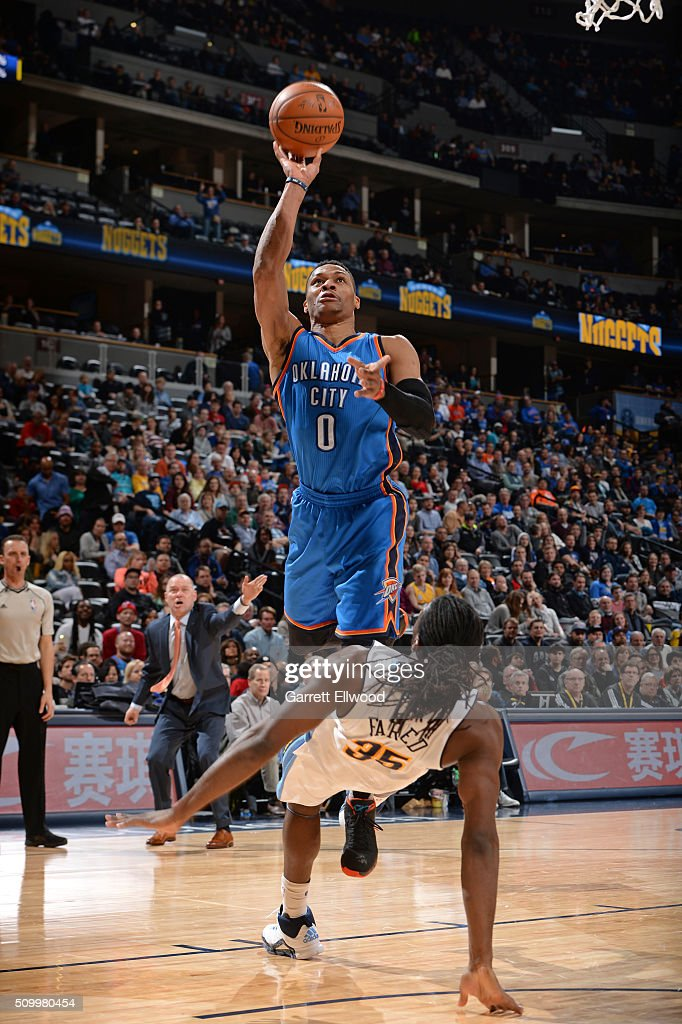Russell Westbrook #0 of the Oklahoma City Thunder drives to the basket and shoots the ball against the Denver Nuggets on January 19, 2016 at the Pepsi Center in Denver, Colorado.