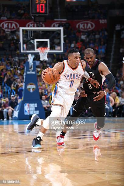 Russell Westbrook of the Oklahoma City Thunder drives to the basket against the Los Angeles Clippers on March 9 2016 at Chesapeake Energy Arena in...