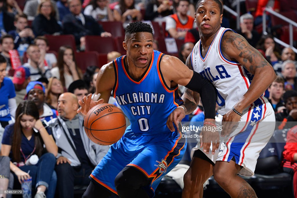 Russell Westbrook #0 of the Oklahoma City Thunder drives to the basket against the Philadelphia 76ers at the Wells Fargo Center on March 18, 2016 in Philadelphia, Pennsylvania.