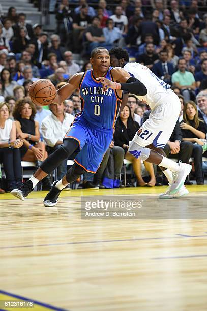 Russell Westbrook of the Oklahoma City Thunder drives to the basket against Real Madrid as part of the 2016 Global Games on October 3 2016 at the...