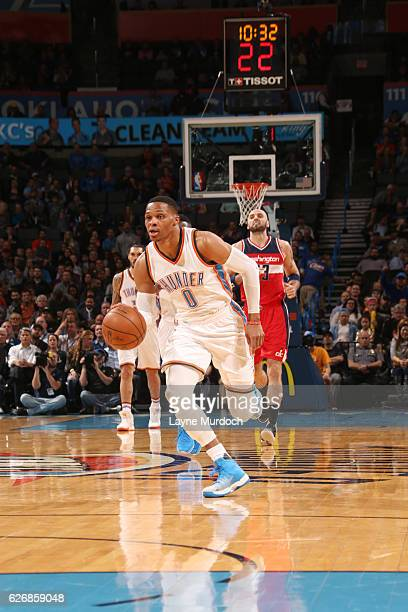 Russell Westbrook of the Oklahoma City Thunder drives to the basket against the Washington Wizards during the game on November 30 2016 at Chesapeake...