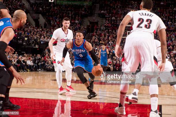 Russell Westbrook of the Oklahoma City Thunder drives to the basket during the game against the Portland Trail Blazers on March 2 2017 at the Moda...