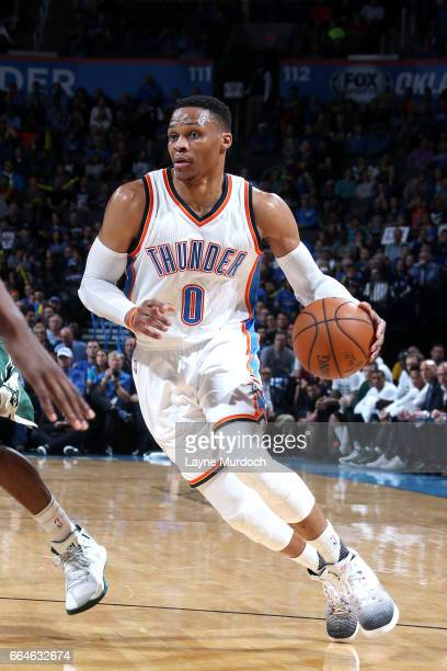 Russell Westbrook of the Oklahoma City Thunder drives to the basket during the game against the Milwaukee Bucks on April 4 2017 at Chesapeake Energy...