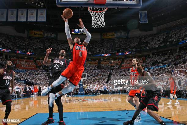 Russell Westbrook of the Oklahoma City Thunder drives to the basket against the Houston Rockets in Game Four of the Western Conference Quarterfinals...