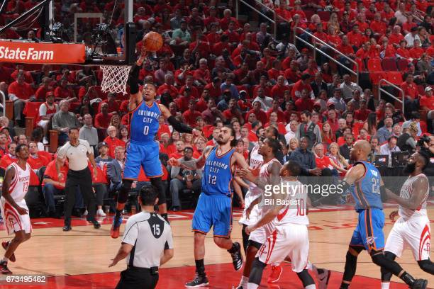 Russell Westbrook of the Oklahoma City Thunder drives to the basket against the Houston Rockets in Game Five of the Western Conference Quarterfinals...