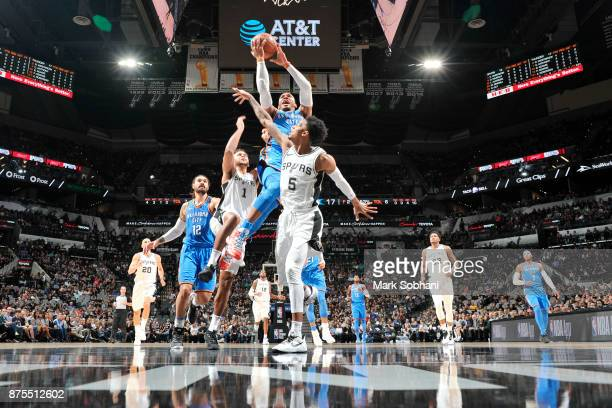 Russell Westbrook of the Oklahoma City Thunder drives to the basket against the San Antonio Spurs on November 17 2017 at the ATT Center in San...