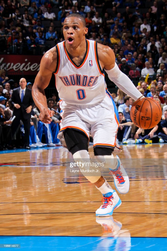 <a gi-track='captionPersonalityLinkClicked' href=/galleries/search?phrase=Russell+Westbrook&family=editorial&specificpeople=4044231 ng-click='$event.stopPropagation()'>Russell Westbrook</a> #0 of the Oklahoma City Thunder drives to the lane against the Los Angeles Clippers on November 21, 2012 at the Chesapeake Energy Arena in Oklahoma City, Oklahoma.