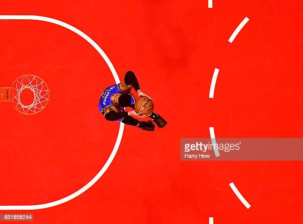 Russell Westbrook of the Oklahoma City Thunder dunks after a steal against the LA Clippers at Staples Center on January 16 2017 in Los Angeles...