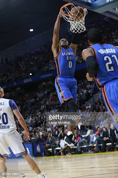 Russell Westbrook of the Oklahoma City Thunder dunks against Real Madrid as part of the 2016 Global Games on October 3 2016 at the Barclaycard Center...
