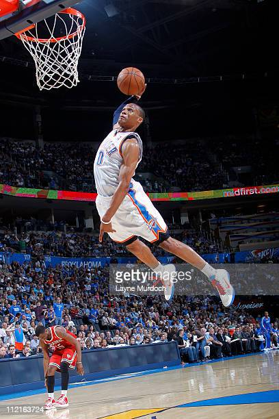 Russell Westbrook of the Oklahoma City Thunder dunks against the Milwaukee Bucks on April 13 2011 at the Oklahoma City Arena in Oklahoma City...