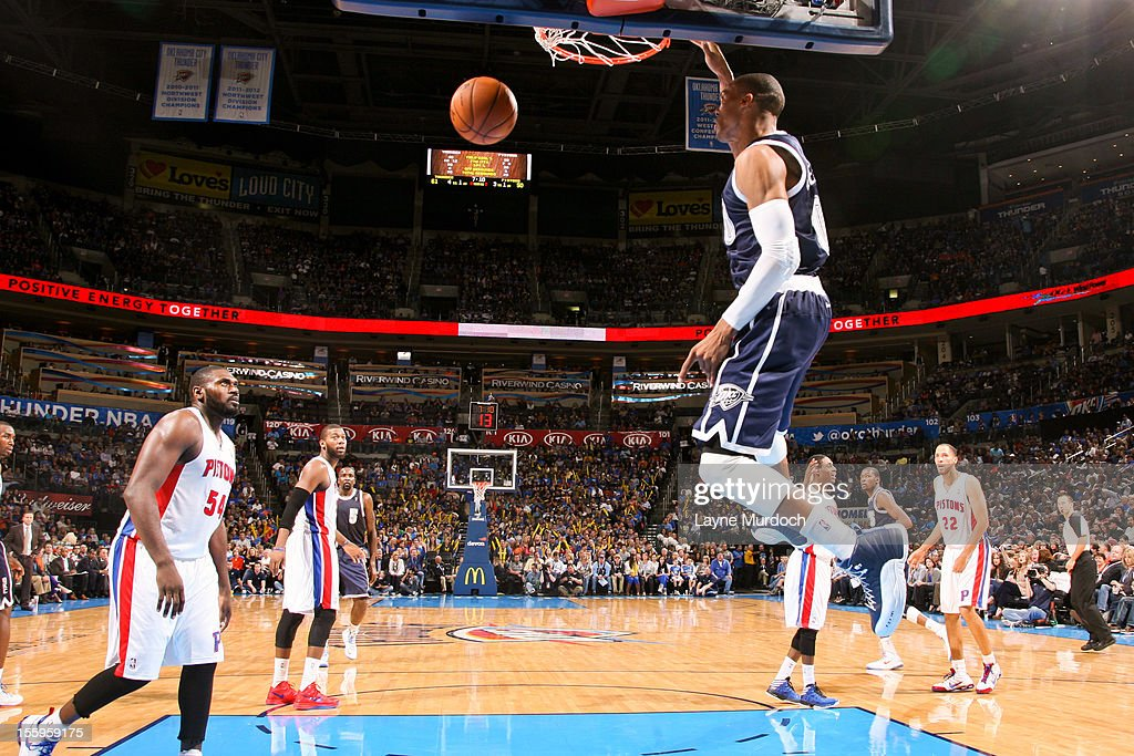 <a gi-track='captionPersonalityLinkClicked' href=/galleries/search?phrase=Russell+Westbrook&family=editorial&specificpeople=4044231 ng-click='$event.stopPropagation()'>Russell Westbrook</a> #0 of the Oklahoma City Thunder dunks against the Detroit Pistons on November 9, 2012 at the Chesapeake Energy Arena in Oklahoma City, Oklahoma.