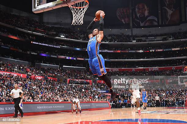 Russell Westbrook of the Oklahoma City Thunder dunks against the LA Clippers on January 16 2017 at STAPLES Center in Los Angeles California NOTE TO...