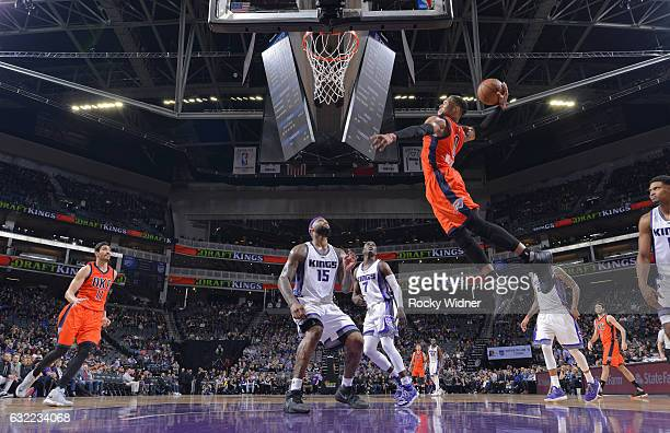 Russell Westbrook of the Oklahoma City Thunder dunks against the Sacramento Kings on January 15 2017 at Golden 1 Center in Sacramento California NOTE...