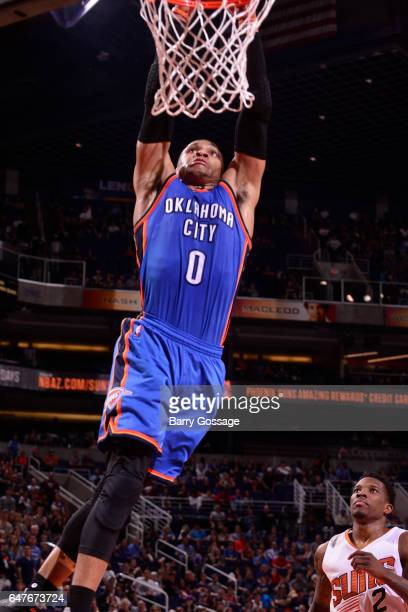 Russell Westbrook of the Oklahoma City Thunder dunks against the Phoenix Suns on March 3 2017 at Talking Stick Resort Arena in Phoenix Arizona NOTE...