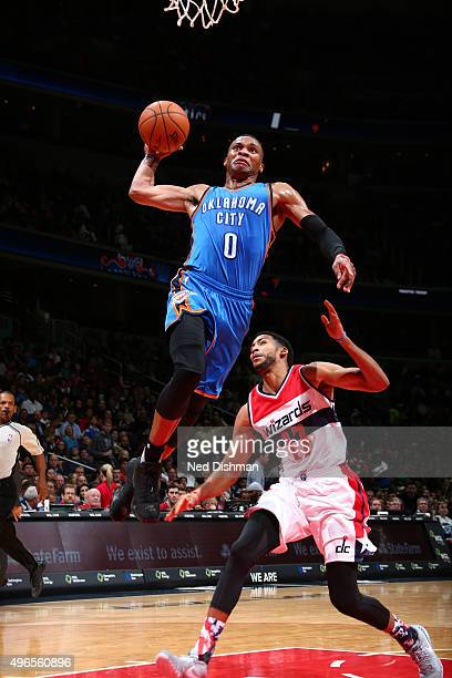 Russell Westbrook of the Oklahoma City Thunder dunks against the Washington Wizards during the game on November 10 2015 at Verizon Center in...