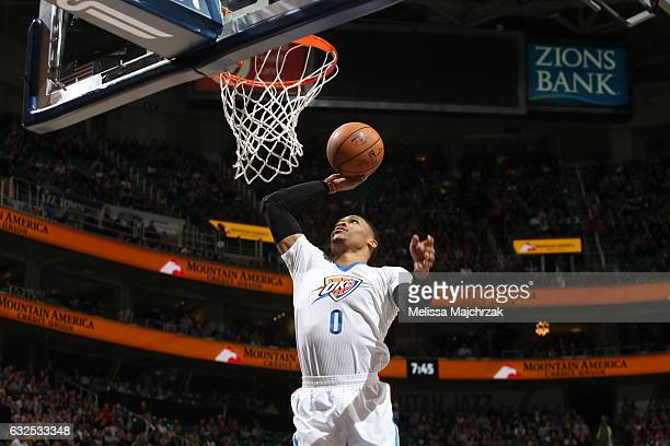 Russell Westbrook of the Oklahoma City Thunder dunks against the Utah Jazz on January 23 2017 at vivintSmartHome Arena in Salt Lake City Utah NOTE TO...