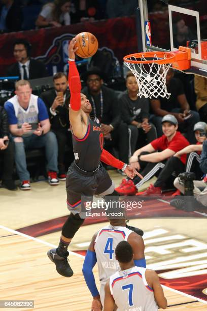 Russell Westbrook of the Oklahoma City Thunder dunks during the NBA AllStar Game as part of the 2017 NBA All Star Weekend on February 19 2017 at the...