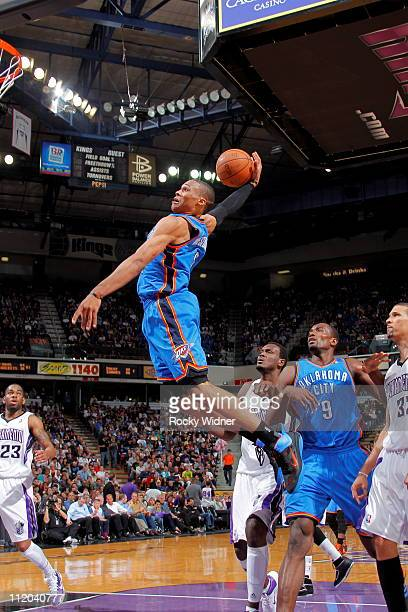 Russell Westbrook of the Oklahoma City Thunder dunks the ball against the Sacramento Kings on April 11 2011 at Power Balance Pavilion in Sacramento...