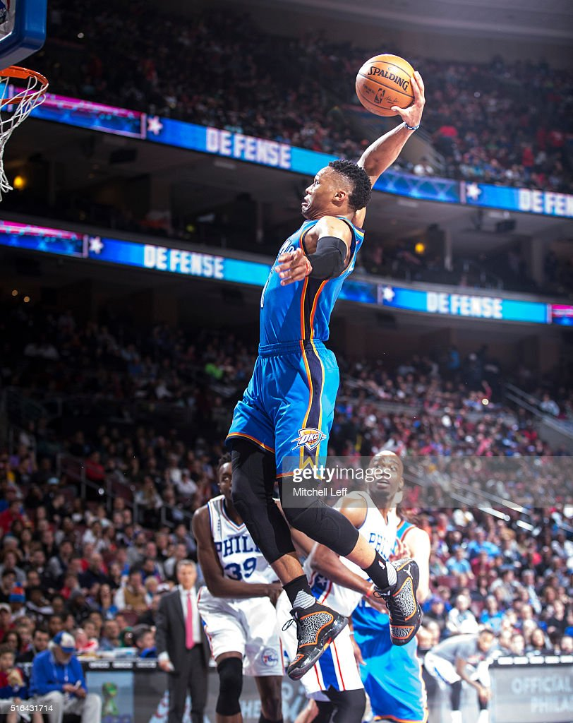 Russell Westbrook #0 of the Oklahoma City Thunder dunks the ball against the Philadelphia 76ers on March 18, 2016 at the Wells Fargo Center in Philadelphia, Pennsylvania. The Thunder defeated the 76ers 111-97.