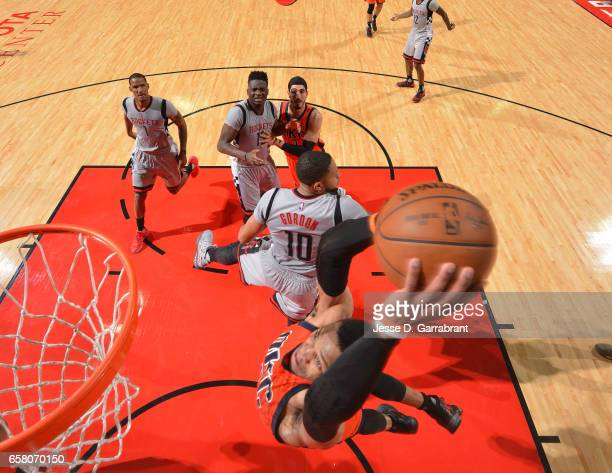 Russell Westbrook of the Oklahoma City Thunder dunks the ball against the Houston Rockets on March 26 2017 at the Toyota Center in Houston Texas NOTE...