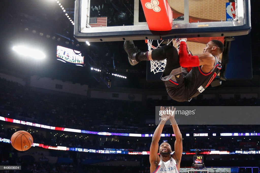 Russell Westbrook #0 of the Oklahoma City Thunder dunks the ball as Kemba Walker #15 of the Charlotte Hornets reacts in the first half of the 2017 NBA All-Star Game at Smoothie King Center on February 19, 2017 in New Orleans, Louisiana.