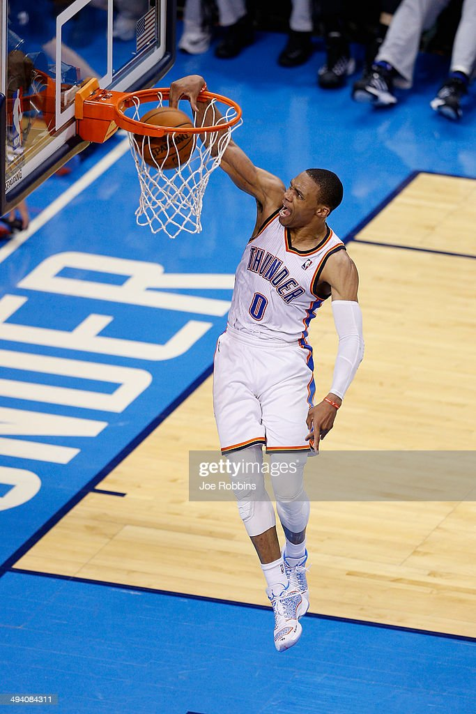<a gi-track='captionPersonalityLinkClicked' href=/galleries/search?phrase=Russell+Westbrook&family=editorial&specificpeople=4044231 ng-click='$event.stopPropagation()'>Russell Westbrook</a> #0 of the Oklahoma City Thunder dunks the ball in the first half against the San Antonio Spurs during Game Four of the Western Conference Finals of the 2014 NBA Playoffs at Chesapeake Energy Arena on May 27, 2014 in Oklahoma City, Oklahoma.