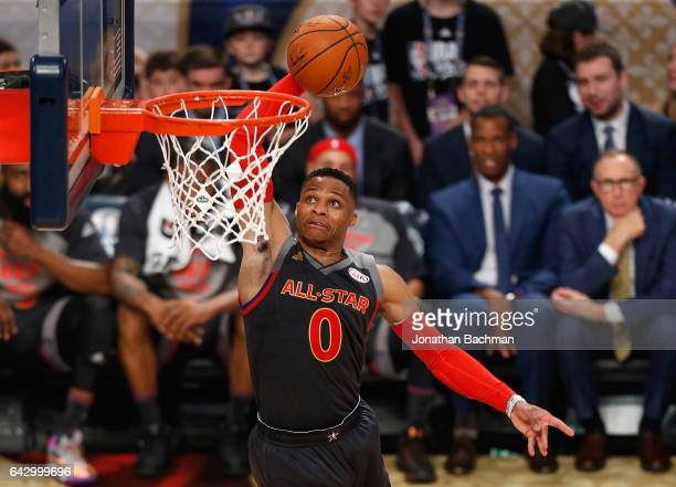 Russell Westbrook of the Oklahoma City Thunder dunks the ball in the first half of the 2017 NBA AllStar Game at Smoothie King Center on February 19...