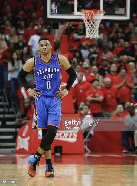 Russell Westbrook of the Oklahoma City Thunder during Game Five of the Western Conference Quarterfinals game of the 2017 NBA Playoffs at Toyota...