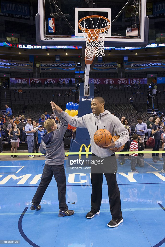 Russell Westbrook #0 of the Oklahoma City Thunder during the annual season ticket holder event at the Chesapeake Arena on March 30, 2014 in Oklahoma City, Oklahoma.