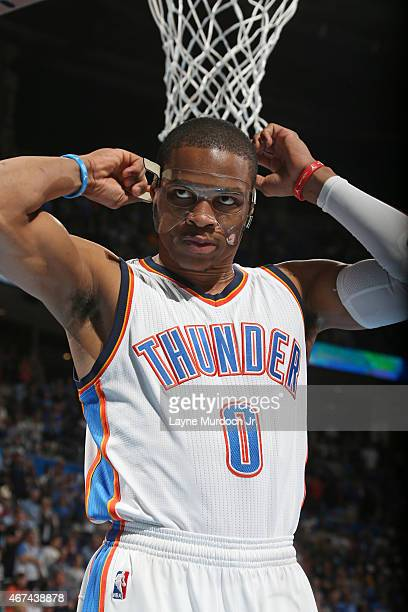 Russell Westbrook of the Oklahoma City Thunder during the game against the Los Angeles Lakers on March 24 2015 at the Chesapeake Energy Arena in...