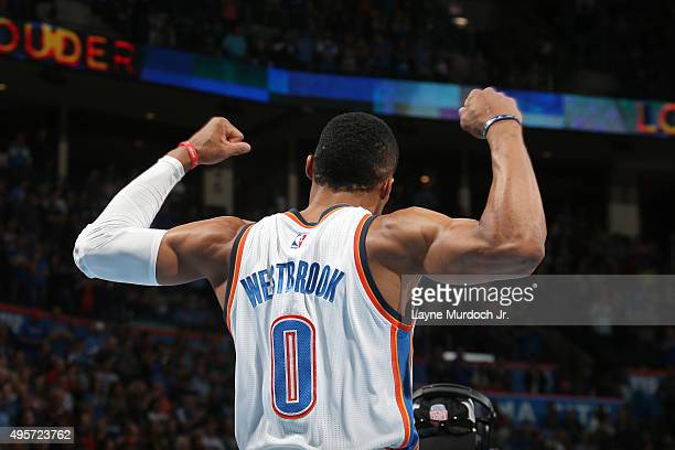 Russell Westbrook of the Oklahoma City Thunder during the game against the Toronto Raptors on November 4 2015 at Chesapeake Energy Arena in Oklahoma...
