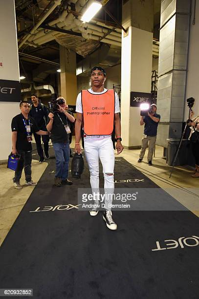 Russell Westbrook of the Oklahoma City Thunder enters the arena before the game against the Golden State Warriors on November 3 2016 at ORACLE Arena...