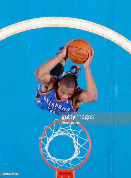 Russell Westbrook of the Oklahoma City Thunder flies in for the dunk against the Dallas Mavericks on February 1 2012 at the American Airlines Center...