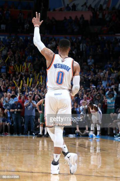 Russell Westbrook of the Oklahoma City Thunder gets 41st TripleDouble tying Oscar Robinson for the most in a single season during the game smbagainst...
