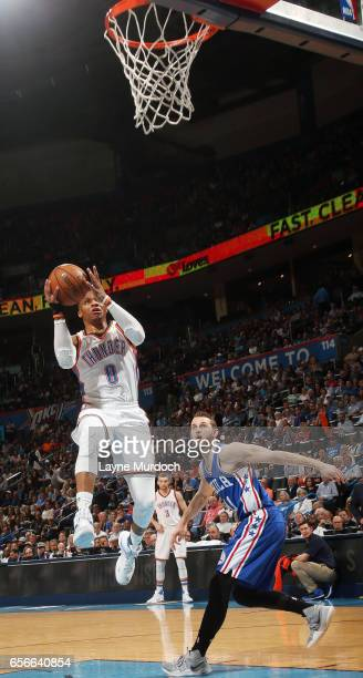Russell Westbrook of the Oklahoma City Thunder goes for a lay up en route to the first ever perfect triple double in NBA history against the...