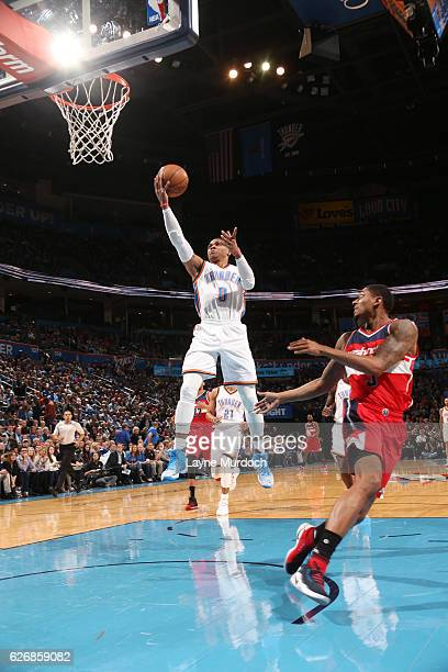 Russell Westbrook of the Oklahoma City Thunder goes for a lay up against the Washington Wizards during the game on November 30 2016 at Chesapeake...