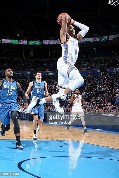 Russell Westbrook of the Oklahoma City Thunder goes for the dunk during the game against the Minnesota Timberwolves on January 15 2016 at Chesapeake...