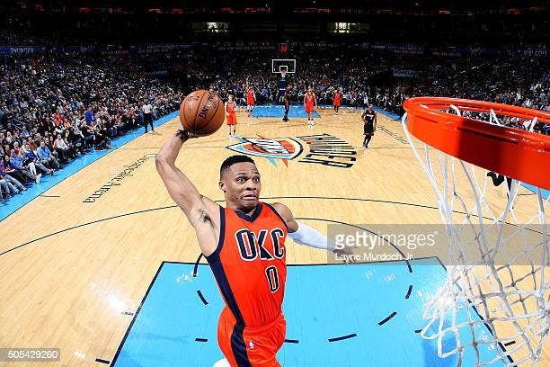 Russell Westbrook of the Oklahoma City Thunder goes for the dunk during the game against the Miami Heat on January 17 2016 at the Chesapeake Energy...
