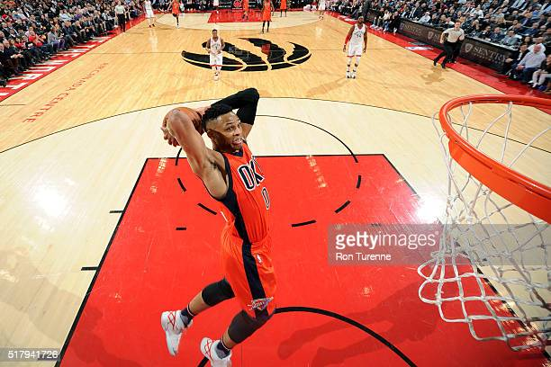 Russell Westbrook of the Oklahoma City Thunder goes for the dunk during the game against the Toronto Raptors on March 28 2016 at the Air Canada...