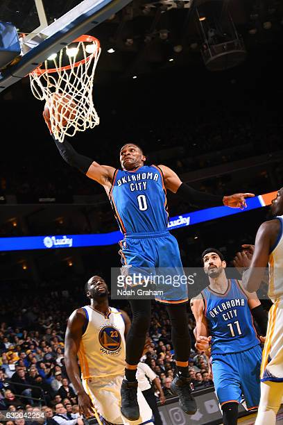 Russell Westbrook of the Oklahoma City Thunder goes for the dunk during the game against the Golden State Warriors on January 18 2017 at ORACLE Arena...